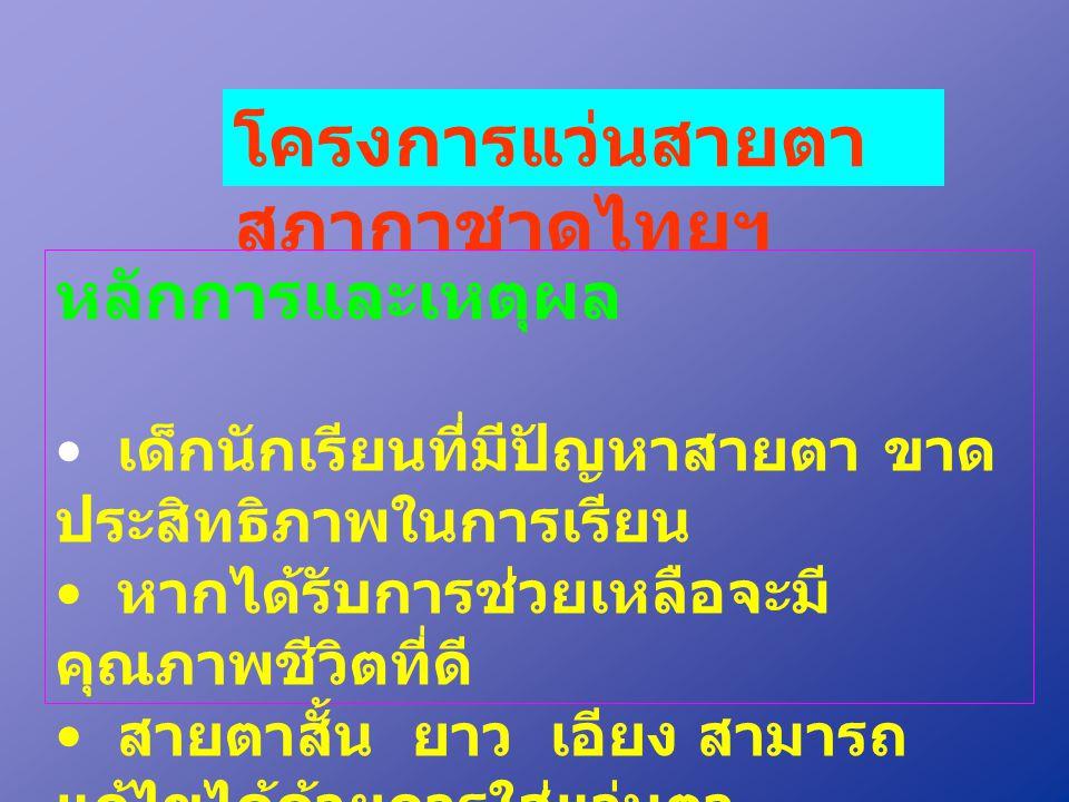 โครงการแว่นสายตา สภากาชาดไทยฯ หลักการและเหตุผล • เด็กนักเรียนที่มีปัญหาสายตา ขาด ประสิทธิภาพในการเรียน • หากได้รับการช่วยเหลือจะมี คุณภาพชีวิตที่ดี •