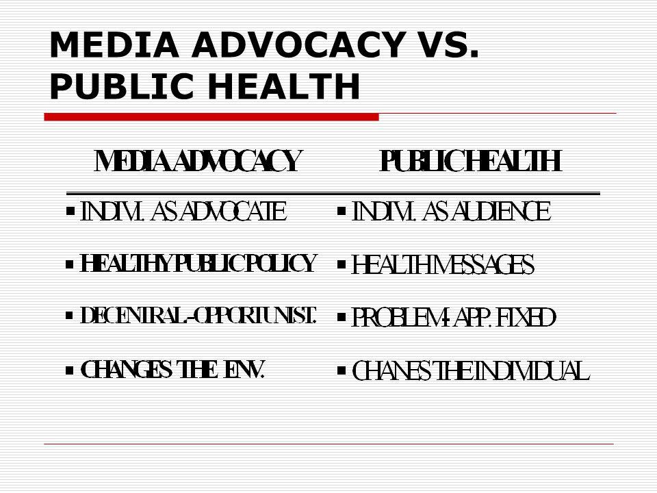 MEDIA ADVOCACY VS. PUBLIC HEALTH