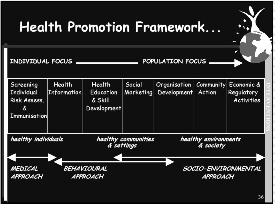 Health Promotion Objectives  Individual  Knowledge  Attitudes  Behaviors  Physiology  Organization  Policies  Practices  Programs  Facilities  Resources  Community  Policies  Practices  Programs  Facilities  Resources  Government  Policies/Programs  Facilities/Resources  Legislation/Ordinances  Regulation/Enforcement