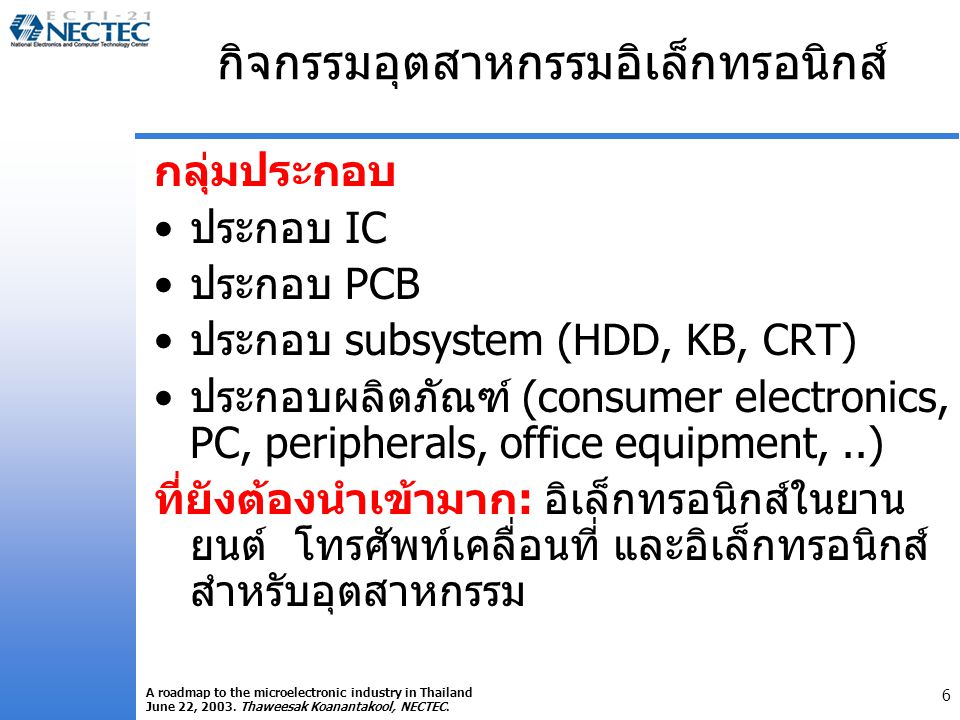 6 A roadmap to the microelectronic industry in Thailand June 22, 2003.