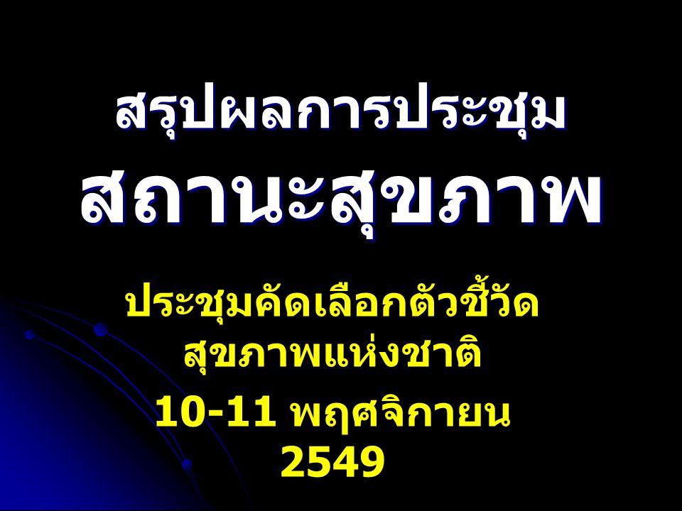 สรุปผลการประชุม สถานะสุขภาพ ประชุมคัดเลือกตัวชี้วัด สุขภาพแห่งชาติ 10-11 พฤศจิกายน 2549