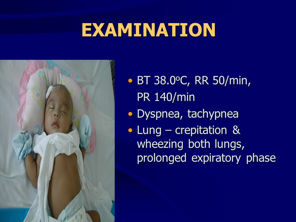 EXAMINATION •BT 38.0 o C, RR 50/min, PR 140/min •Dyspnea, tachypnea •Lung – crepitation & wheezing both lungs, prolonged expiratory phase