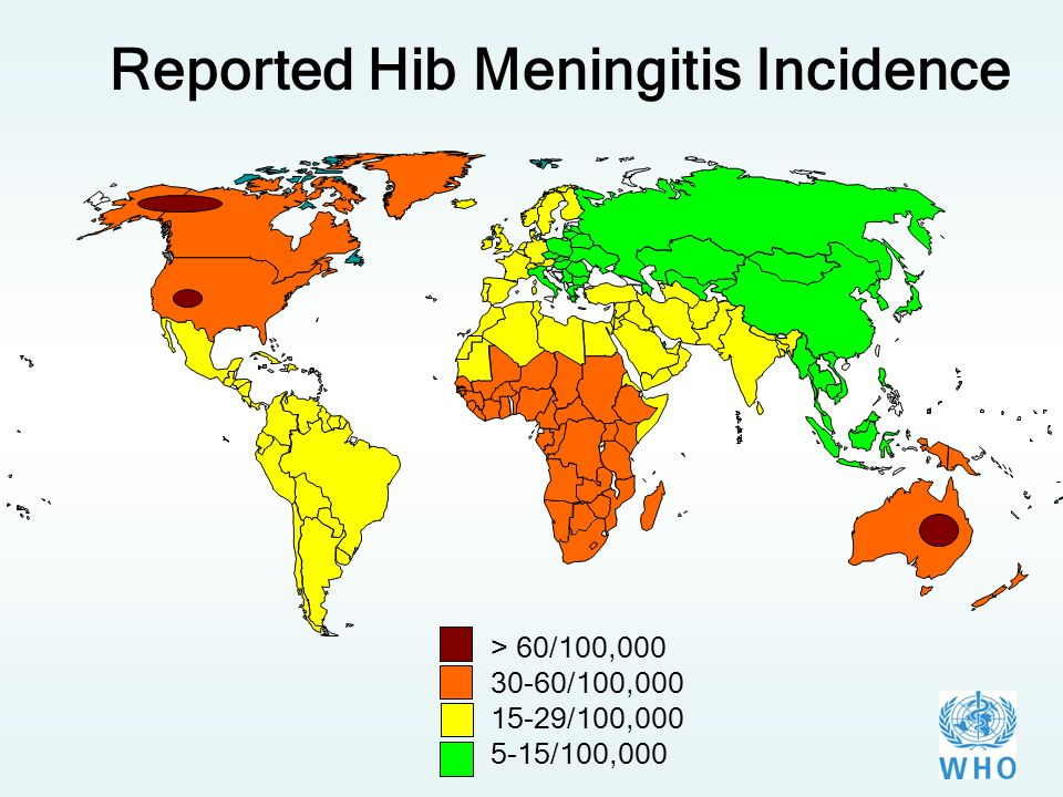 > 60/100,000 30-60/100,000 15-29/100,000 5-15/100,000 Reported Hib Meningitis Incidence