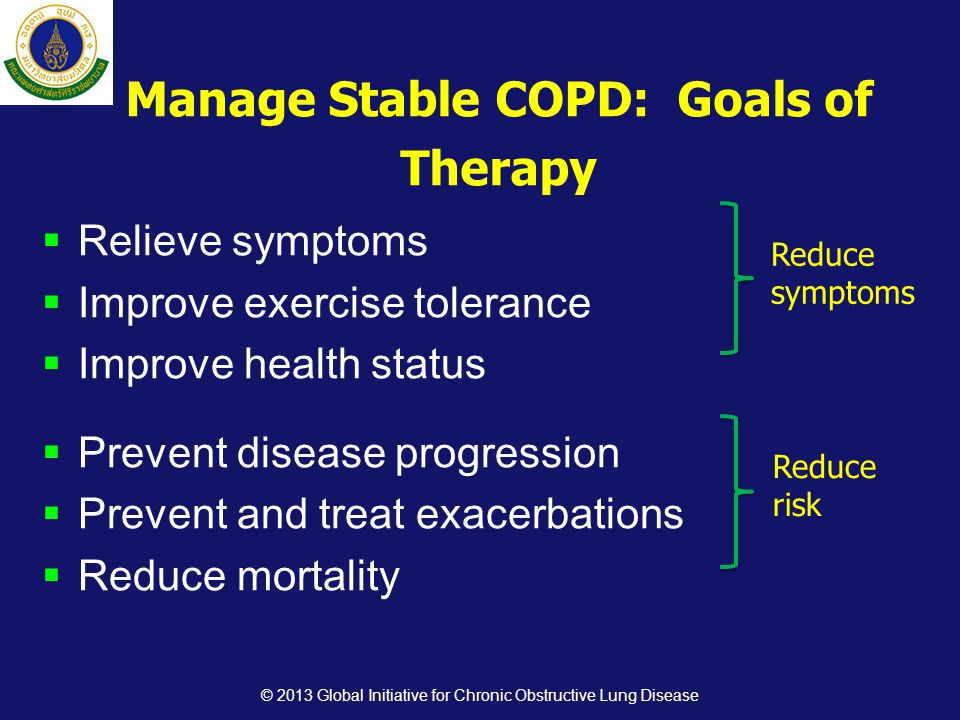  Relieve symptoms  Improve exercise tolerance  Improve health status  Prevent disease progression  Prevent and treat exacerbations  Reduce mortality Reduce symptoms Reduce risk Manage Stable COPD: Goals of Therapy © 2013 Global Initiative for Chronic Obstructive Lung Disease