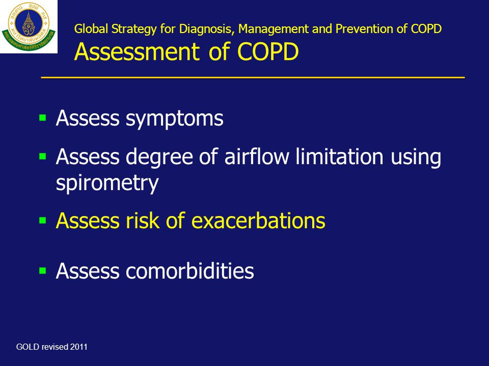 Global Strategy for Diagnosis, Management and Prevention of COPD Assessment of COPD  Assess symptoms  Assess degree of airflow limitation using spir