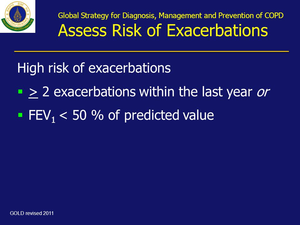 Global Strategy for Diagnosis, Management and Prevention of COPD Assess Risk of Exacerbations High risk of exacerbations  > 2 exacerbations within th