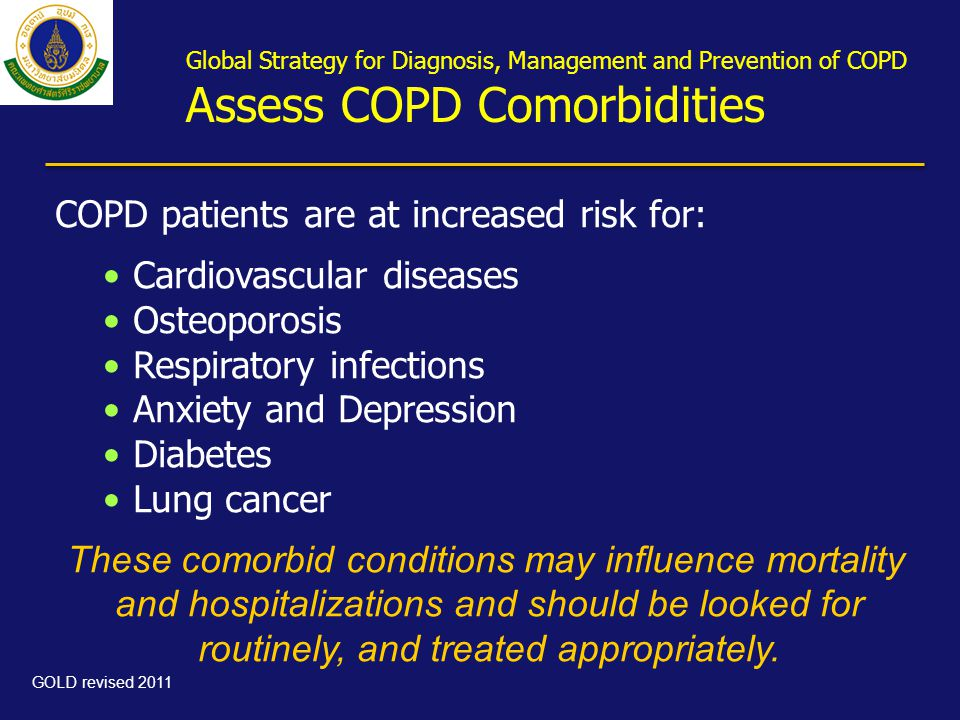 Global Strategy for Diagnosis, Management and Prevention of COPD Assess COPD Comorbidities COPD patients are at increased risk for: •Cardiovascular di