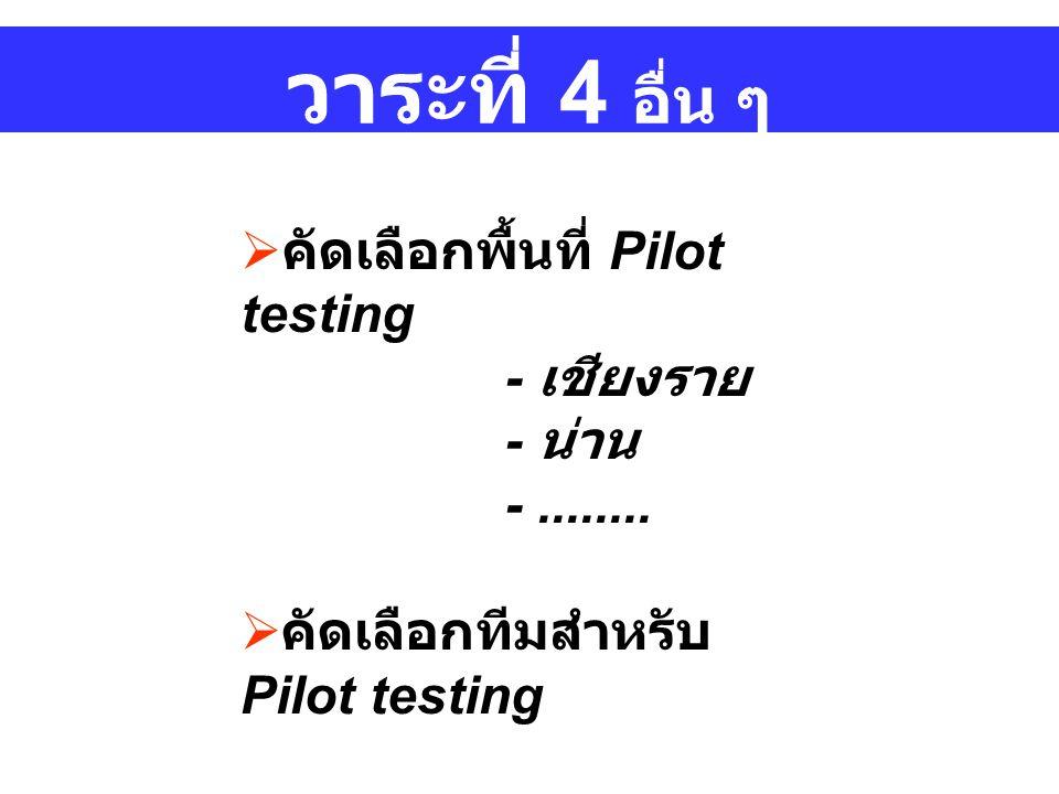 วาระที่ 4 อื่น ๆ  คัดเลือกพื้นที่ Pilot testing - เชียงราย - น่าน -........
