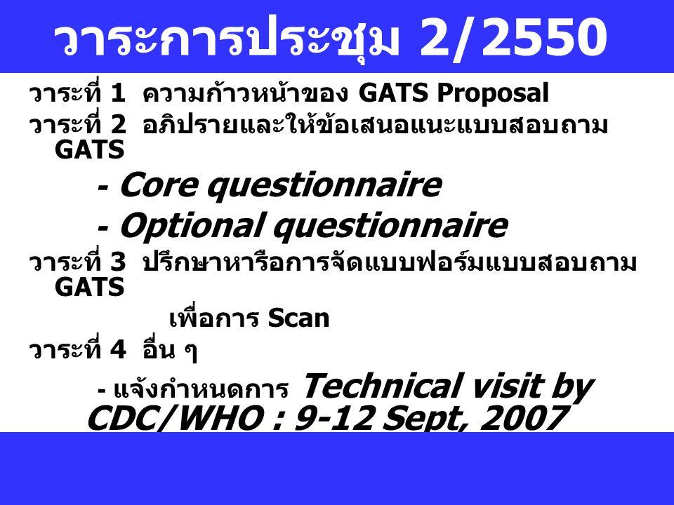 วาระการประชุม 2/2550 วาระที่ 1 ความก้าวหน้าของ GATS Proposal วาระที่ 2 อภิปรายและให้ข้อเสนอแนะแบบสอบถาม GATS - Core questionnaire - Optional questionnaire วาระที่ 3 ปรึกษาหารือการจัดแบบฟอร์มแบบสอบถาม GATS เพื่อการ Scan วาระที่ 4 อื่น ๆ - แจ้งกำหนดการ Technical visit by CDC/WHO : 9-12 Sept, 2007 - คัดเลือกพื้นที่ Pilot testing - คัดเลือกทีมสำหรับ Pilot testing