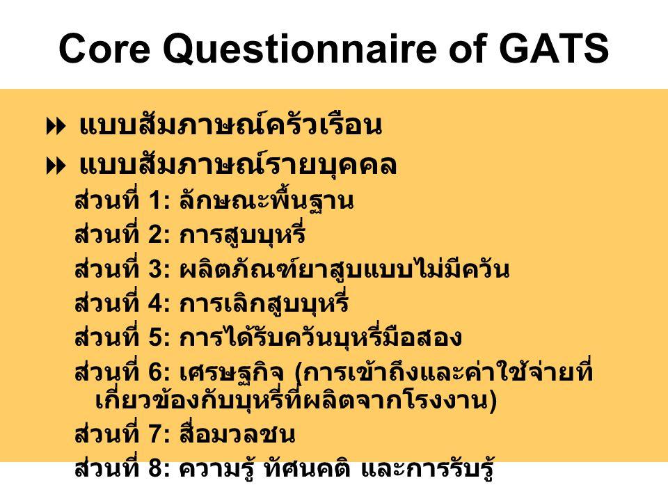 Core Questionnaire of GATS  แบบสัมภาษณ์ครัวเรือน  แบบสัมภาษณ์รายบุคคล ส่วนที่ 1: ลักษณะพื้นฐาน ส่วนที่ 2: การสูบบุหรี่ ส่วนที่ 3: ผลิตภัณฑ์ยาสูบแบบไม่มีควัน ส่วนที่ 4: การเลิกสูบบุหรี่ ส่วนที่ 5: การได้รับควันบุหรี่มือสอง ส่วนที่ 6: เศรษฐกิจ ( การเข้าถึงและค่าใช้จ่ายที่ เกี่ยวข้องกับบุหรี่ที่ผลิตจากโรงงาน ) ส่วนที่ 7: สื่อมวลชน ส่วนที่ 8: ความรู้ ทัศนคติ และการรับรู้