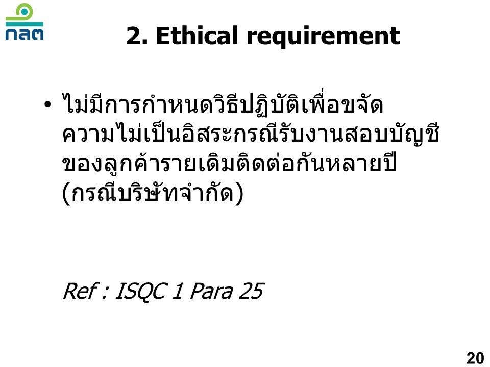 • ไม่มีการกำหนดวิธีปฏิบัติเพื่อขจัด ความไม่เป็นอิสระกรณีรับงานสอบบัญชี ของลูกค้ารายเดิมติดต่อกันหลายปี (กรณีบริษัทจำกัด) Ref : ISQC 1 Para 25 20 2. Et