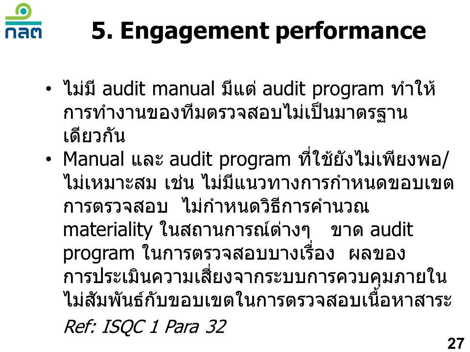 • ไม่มี audit manual มีแต่ audit program ทำให้ การทำงานของทีมตรวจสอบไม่เป็นมาตรฐาน เดียวกัน • Manual และ audit program ที่ใช้ยังไม่เพียงพอ/ ไม่เหมาะสม