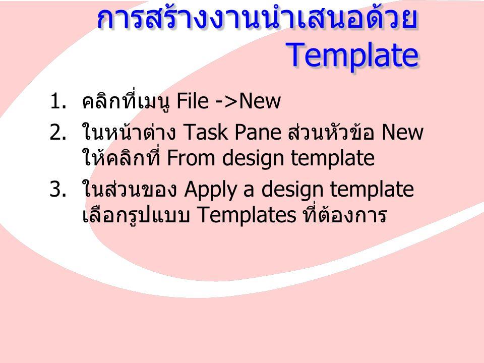 การสร้างงานนำเสนอด้วย Template  คลิกที่เมนู File ->New  ในหน้าต่าง Task Pane ส่วนหัวข้อ New ให้คลิกที่ From design template  ในส่วนของ Apply a design template เลือกรูปแบบ Templates ที่ต้องการ