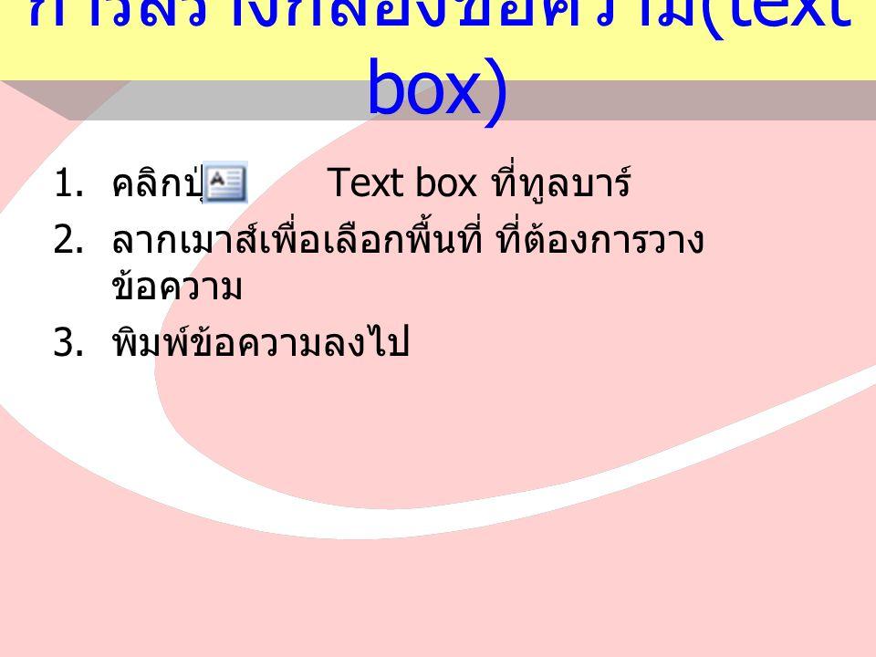 การสร้างกล่องข้อความ (text box) 1.คลิกปุ่ม Text box ที่ทูลบาร์ 2.