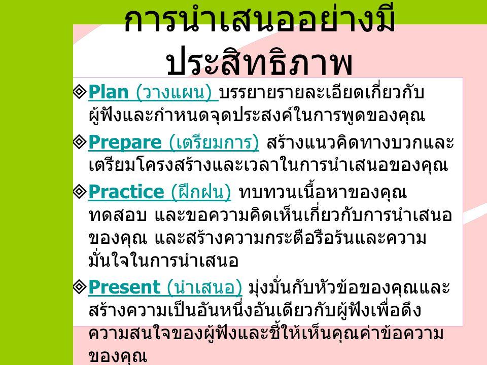  Plan ( วางแผน ) บรรยายรายละเอียดเกี่ยวกับ ผู้ฟังและกำหนดจุดประสงค์ในการพูดของคุณ Plan ( วางแผน )  Prepare ( เตรียมการ ) สร้างแนวคิดทางบวกและ เตรียมโครงสร้างและเวลาในการนำเสนอของคุณ Prepare ( เตรียมการ )  Practice ( ฝึกฝน ) ทบทวนเนื้อหาของคุณ ทดสอบ และขอความคิดเห็นเกี่ยวกับการนำเสนอ ของคุณ และสร้างความกระตือรือร้นและความ มั่นใจในการนำเสนอ Practice ( ฝึกฝน )  Present ( นำเสนอ ) มุ่งมั่นกับหัวข้อของคุณและ สร้างความเป็นอันหนึ่งอันเดียวกับผู้ฟังเพื่อดึง ความสนใจของผู้ฟังและชี้ให้เห็นคุณค่าข้อความ ของคุณ Present ( นำเสนอ ) การนำเสนออย่างมี ประสิทธิภาพ