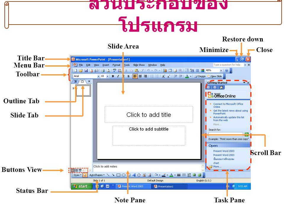 ตัวอย่างมุมมองต่าง ๆ (Buttons View) Normal ViewSlide Sorter View Slide Show from current slide