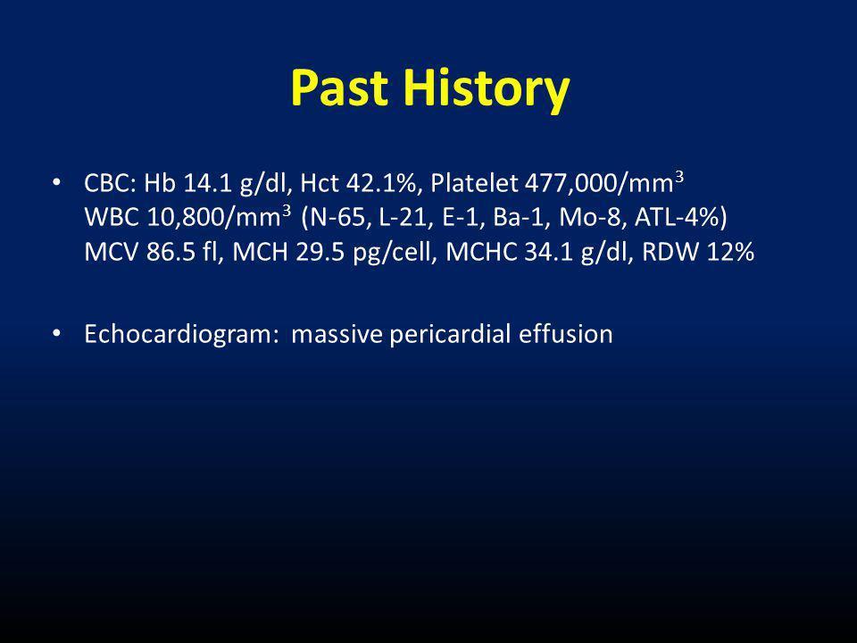 • CBC: Hb 14.1 g/dl, Hct 42.1%, Platelet 477,000/mm 3 WBC 10,800/mm 3 (N-65, L-21, E-1, Ba-1, Mo-8, ATL-4%) MCV 86.5 fl, MCH 29.5 pg/cell, MCHC 34.1 g