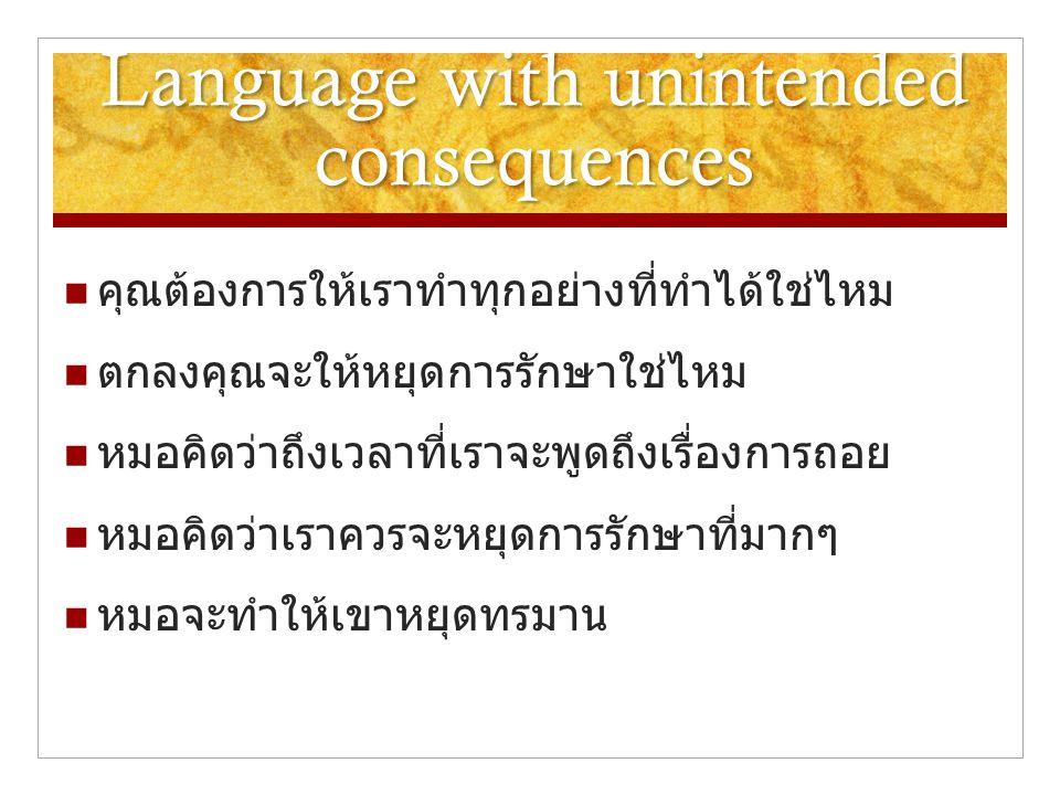 Language with unintended consequences  คุณต้องการให้เราทำทุกอย่างที่ทำได้ใช่ไหม  ตกลงคุณจะให้หยุดการรักษาใช่ไหม  หมอคิดว่าถึงเวลาที่เราจะพูดถึงเรื่องการถอย  หมอคิดว่าเราควรจะหยุดการรักษาที่มากๆ  หมอจะทำให้เขาหยุดทรมาน