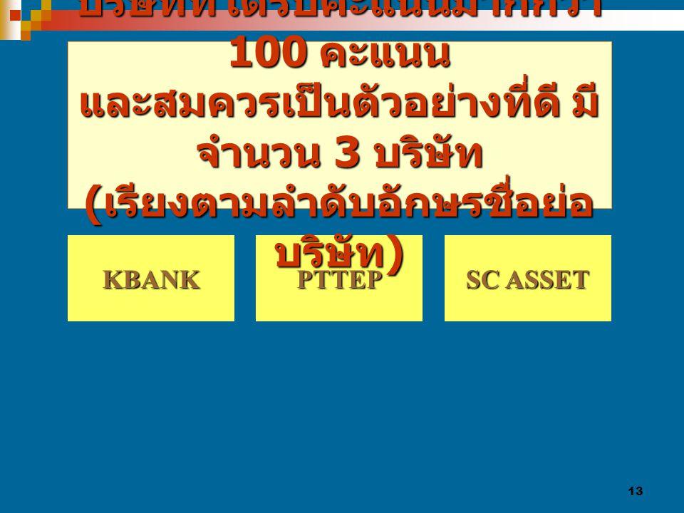 13 PTTEP KBANK SC ASSET SC ASSET บริษัทที่ได้รับคะแนนมากกว่า 100 คะแนน และสมควรเป็นตัวอย่างที่ดี มี จำนวน 3 บริษัท ( เรียงตามลำดับอักษรชื่อย่อ บริษัท )