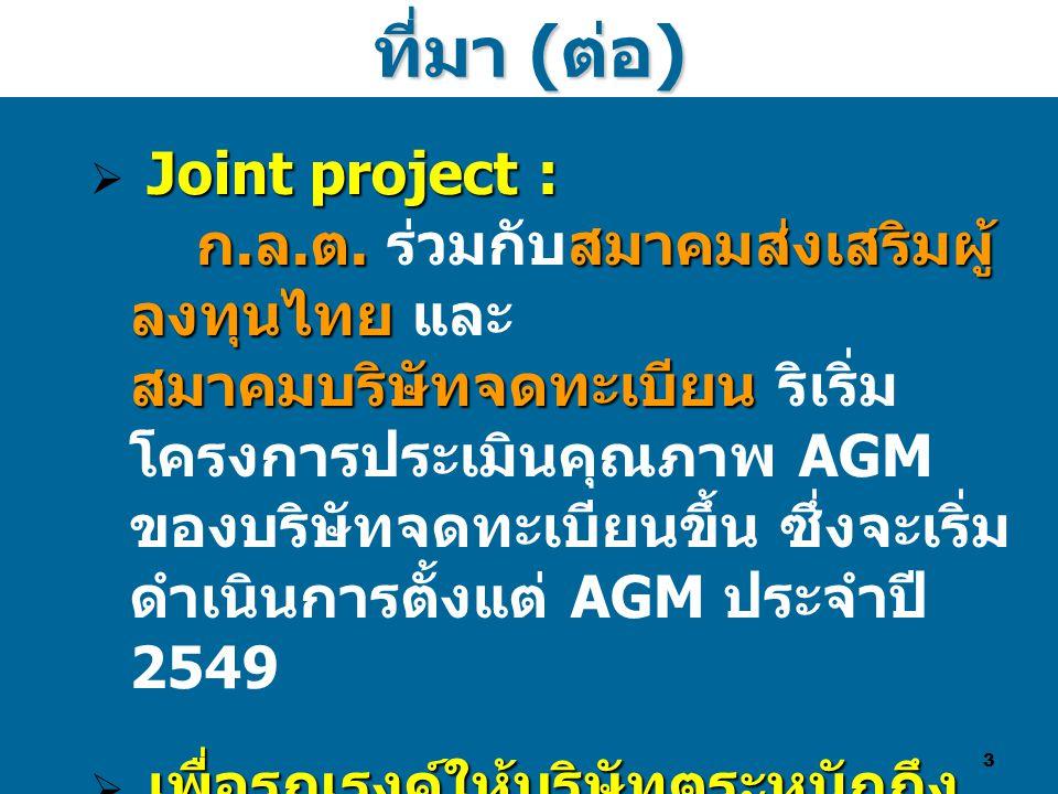 3 Joint project : ก. ล. ต. สมาคมส่งเสริมผู้ ลงทุนไทย สมาคมบริษัทจดทะเบียน  Joint project : ก. ล. ต. ร่วมกับสมาคมส่งเสริมผู้ ลงทุนไทย และ สมาคมบริษัทจ