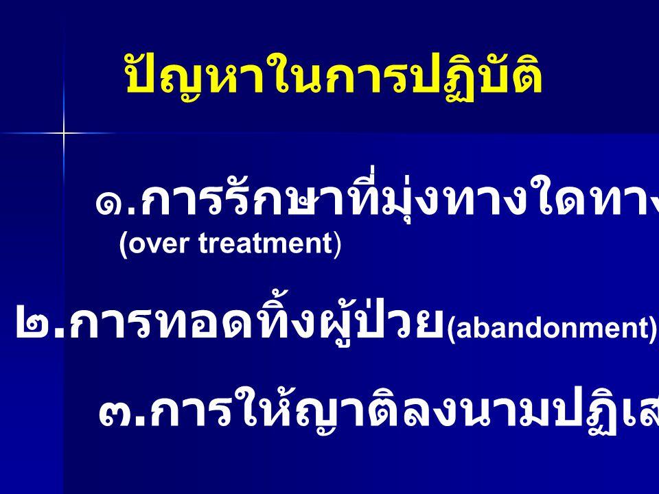 ปัญหาในการปฏิบัติ ๑. การรักษาที่มุ่งทางใดทางหนึ่งจนเกินไป (over treatment) ๒. การทอดทิ้งผู้ป่วย (abandonment) ๓. การให้ญาติลงนามปฏิเสธการรักษา