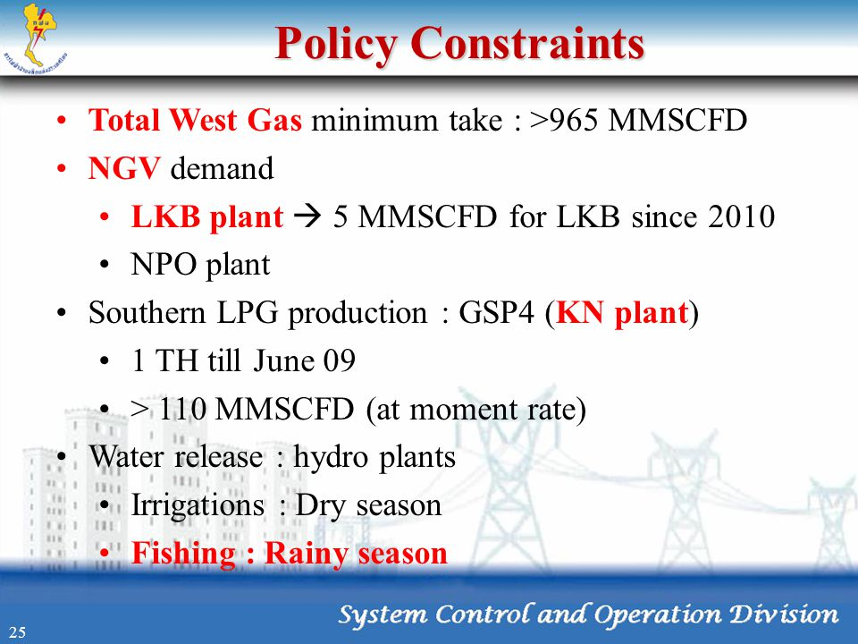 Policy Constraints •Total West Gas minimum take : >965 MMSCFD •NGV demand •LKB plant  5 MMSCFD for LKB since 2010 •NPO plant •Southern LPG production