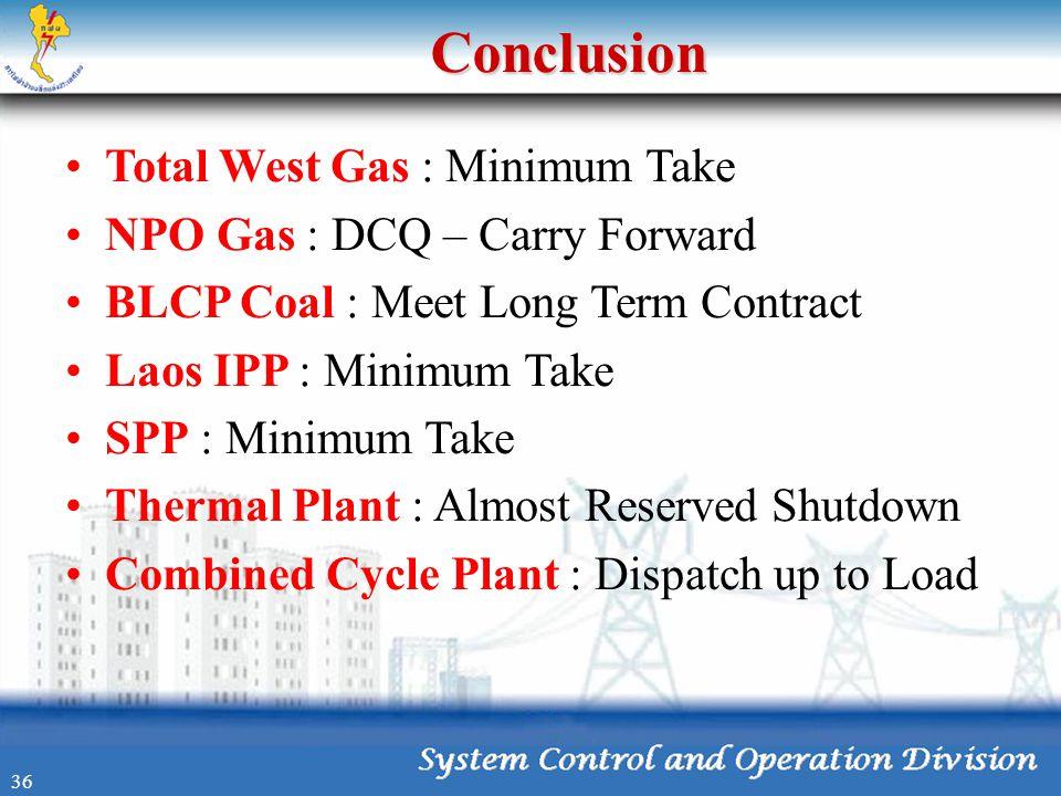 Conclusion •Total West Gas : Minimum Take •NPO Gas : DCQ – Carry Forward •BLCP Coal : Meet Long Term Contract •Laos IPP : Minimum Take •SPP : Minimum