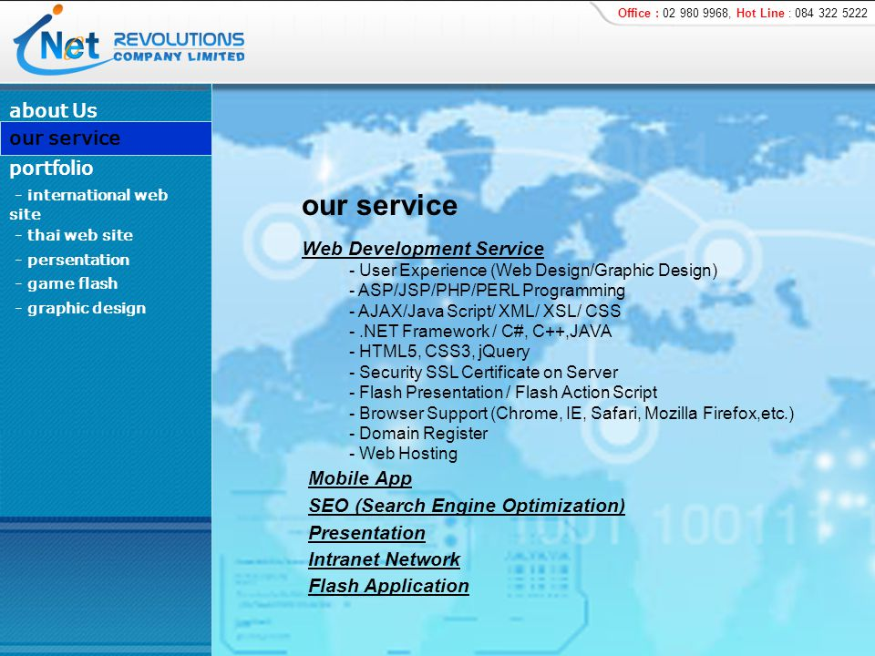 http://www.rosegardenriverside.com/ about Us - international web site - persentation - game flash - graphic design portfolio our service - thai web site Customer : สวนสามพราน จ.