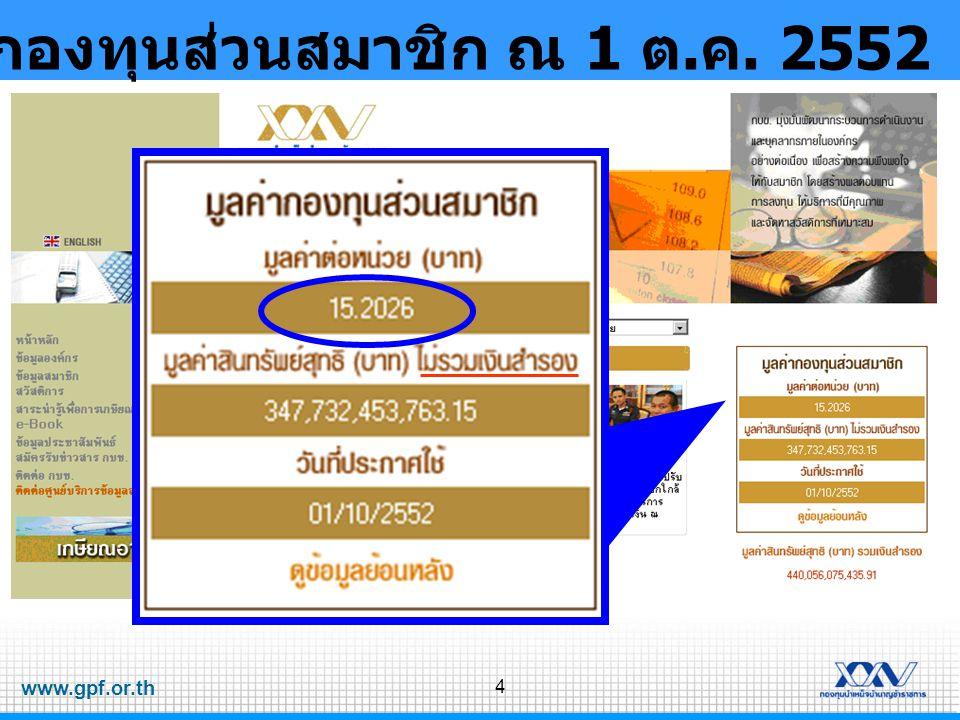 www.gpf.or.th 4 มูลค่ากองทุนส่วนสมาชิก ณ 1 ต. ค. 2552