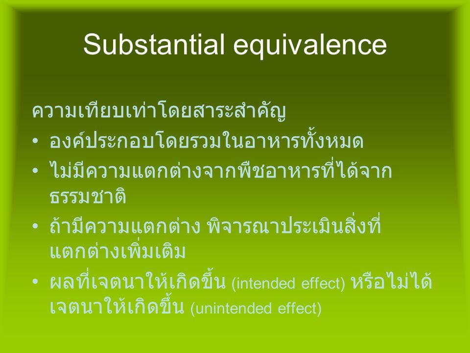 Substantial equivalence ความเทียบเท่าโดยสาระสำคัญ • องค์ประกอบโดยรวมในอาหารทั้งหมด • ไม่มีความแตกต่างจากพืชอาหารที่ได้จาก ธรรมชาติ • ถ้ามีความแตกต่าง