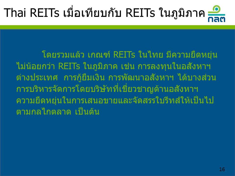Thai REITs เมื่อเทียบกับ REITs ในภูมิภาค 16 โดยรวมแล้ว เกณฑ์ REITs ในไทย มีความยืดหยุ่น ไม่น้อยกว่า REITs ในภูมิภาค เช่น การลงทุนในอสังหาฯ ต่างประเทศ การกู้ยืมเงิน การพัฒนาอสังหาฯ ได้บางส่วน การบริหารจัดการโดยบริษัทที่เชี่ยวชาญด้านอสังหาฯ ความยืดหยุ่นในการเสนอขายและจัดสรรใบรีทส์ให้เป็นไป ตามกลไกตลาด เป็นต้น