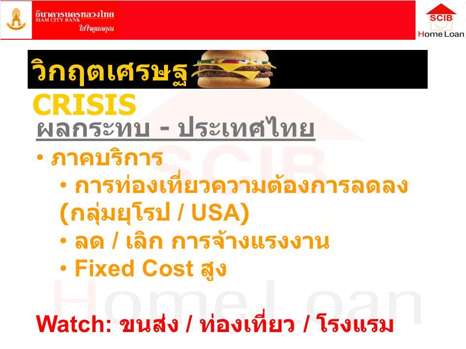 ผลกระทบ - ประเทศไทย • ภาคบริการ • การท่องเที่ยวความต้องการลดลง ( กลุ่มยุโรป / USA) • ลด / เลิก การจ้างแรงงาน • Fixed Cost สูง Watch: ขนส่ง / ท่องเที่ย