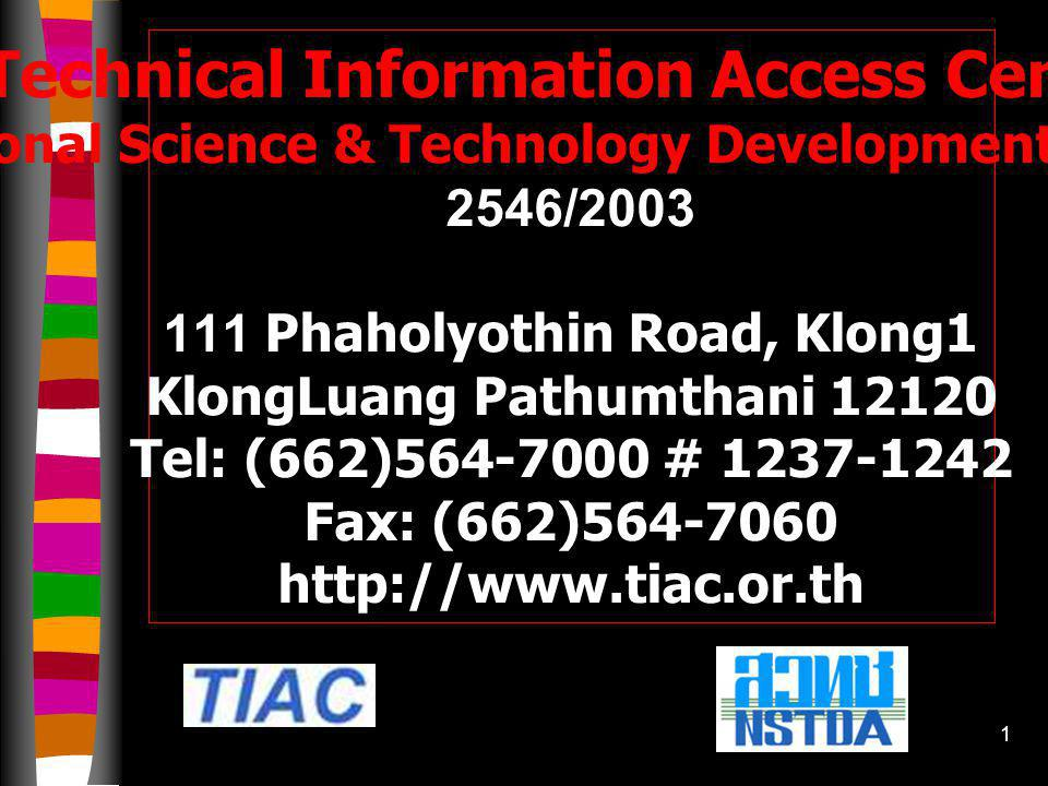11 TIAC Cooperation and Networks 1.Thai Thesis Network 2.