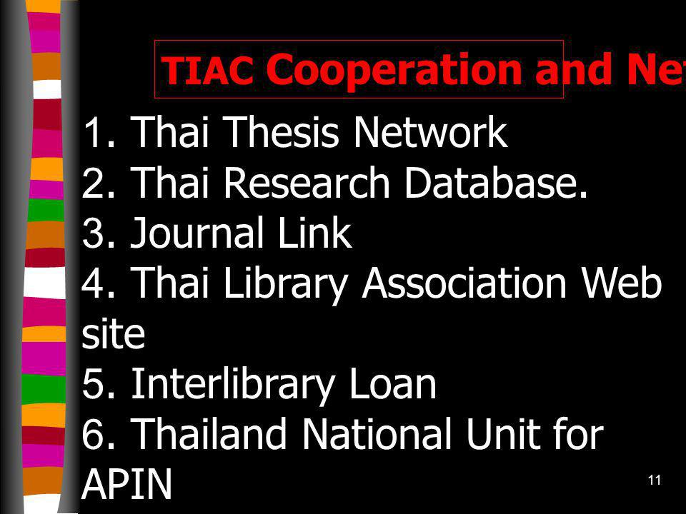 10 TIAC print and e- Publications 1. TIAC E-Newsletter 2. Punyawut (TIAC occasional pamphlet edition) 3. Library Information Services 2000(1st edition