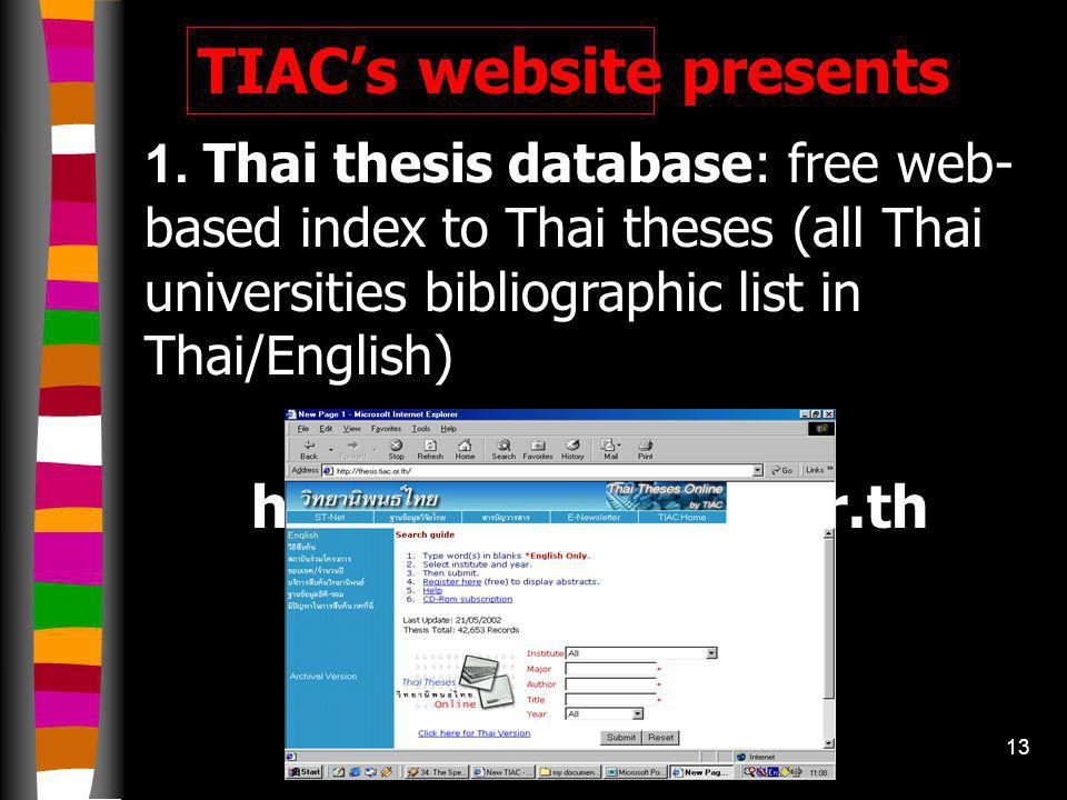 Visit TIAC Web site at http://www.tiac.or.th
