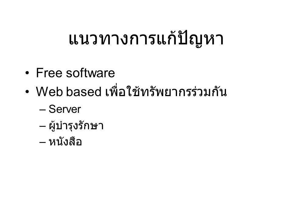 แนวทางการแก้ปัญหา •Free software •Web based เพื่อใช้ทรัพยากรร่วมกัน –Server – ผู้บำรุงรักษา – หนังสือ