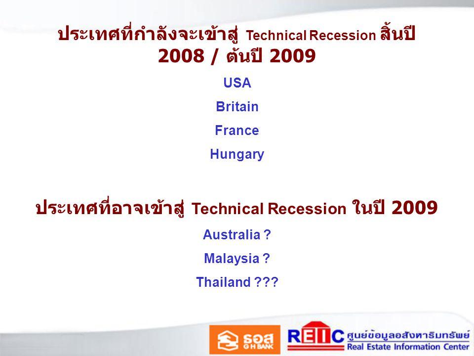 ประเทศที่กำลังจะเข้าสู่ Technical Recession สิ้นปี 2008 / ต้นปี 2009 USA Britain France Hungary ประเทศที่อาจเข้าสู่ Technical Recession ในปี 2009 Australia .