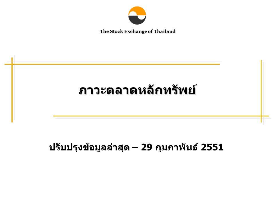 The Stock Exchange of Thailand ภาวะตลาดหลักทรัพย์ ปรับปรุงข้อมูลล่าสุด – 29 กุมภาพันธ์ 2551