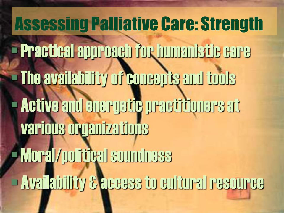Assessing Palliative Care: Strength §Practical approach for humanistic care §The availability of concepts and tools §Active and energetic practitioners at various organizations §Moral/political soundness §Availability & access to cultural resource