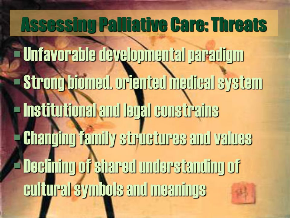 Assessing Palliative Care: Threats §Unfavorable developmental paradigm §Strong biomed.
