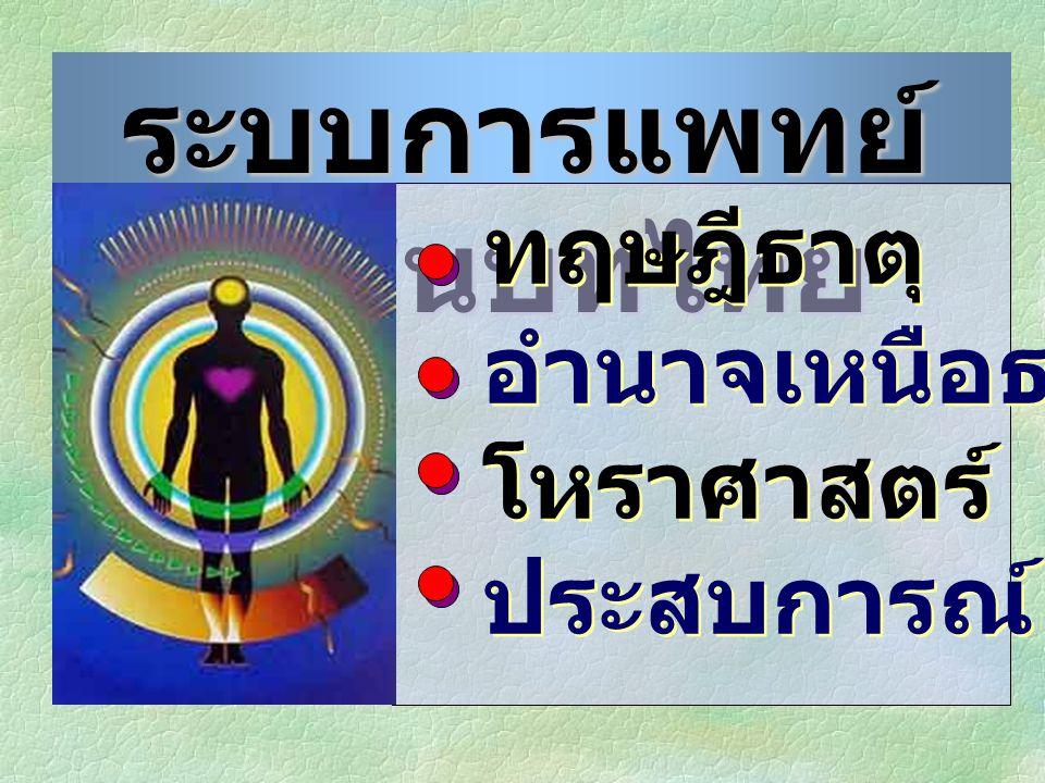 ระบบการแพทย์ ในชนบทไทย ทฤษฎีธาตุ อำนาจเหนือธรรมชาติ โหราศาสตร์ ประสบการณ์ ทฤษฎีธาตุ อำนาจเหนือธรรมชาติ โหราศาสตร์ ประสบการณ์