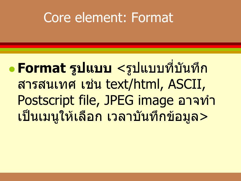 Core element: Format  Format รูปแบบ