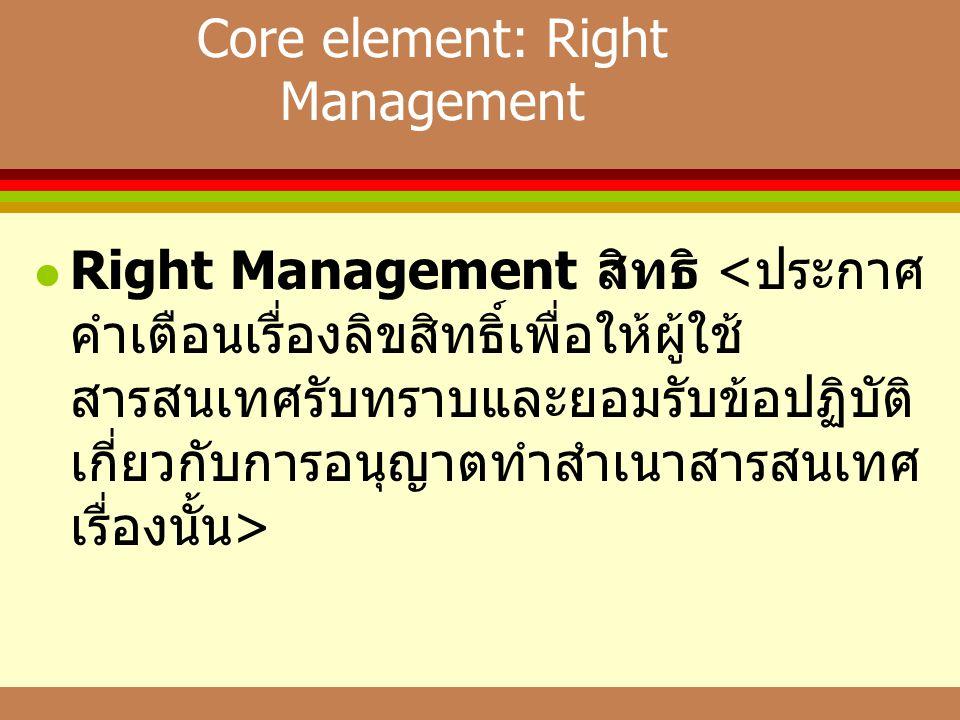 Core element: Right Management  Right Management สิทธิ