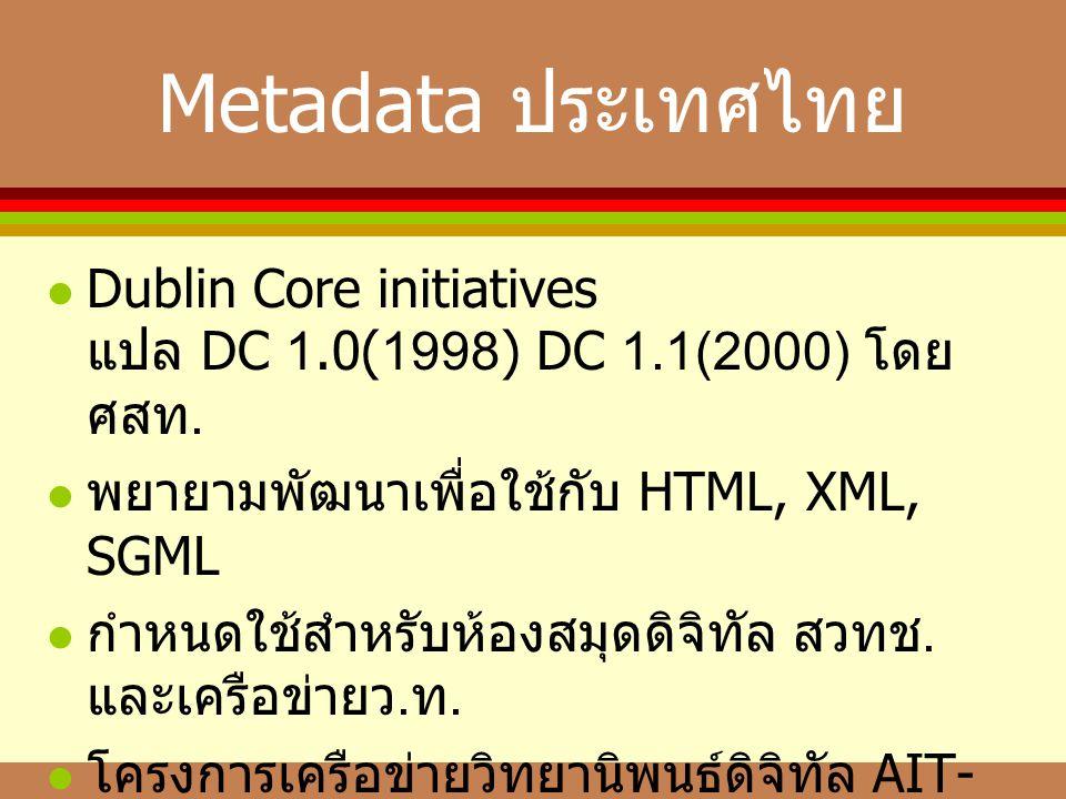 Metadata ประเทศไทย  Dublin Core initiatives แปล DC 1.0(1998) DC 1.1(2000) โดย ศสท.