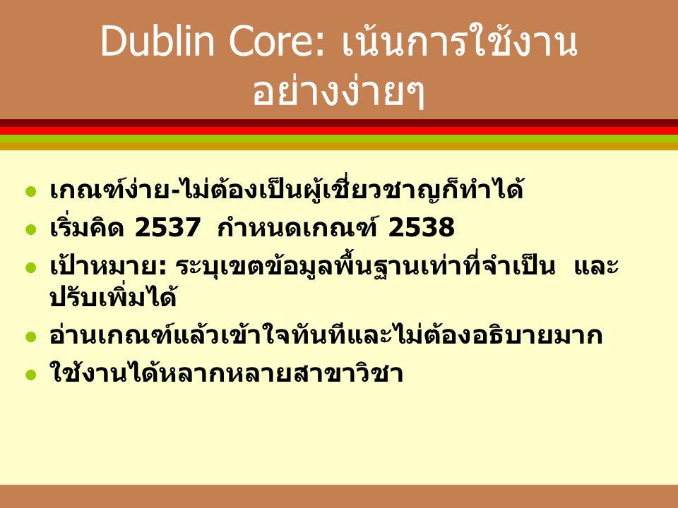 Dublin Core: เน้นการใช้งาน อย่างง่ายๆ  เกณฑ์ง่าย - ไม่ต้องเป็นผู้เชี่ยวชาญก็ทำได้  เริ่มคิด 2537 กำหนดเกณฑ์ 2538  เป้าหมาย : ระบุเขตข้อมูลพื้นฐานเท่าที่จำเป็น และ ปรับเพิ่มได้  อ่านเกณฑ์แล้วเข้าใจทันทีและไม่ต้องอธิบายมาก  ใช้งานได้หลากหลายสาขาวิชา