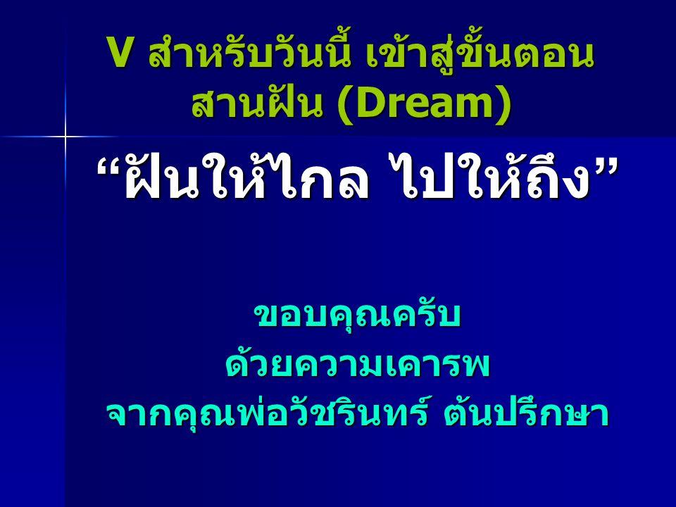 V สำหรับวันนี้ เข้าสู่ขั้นตอน สานฝัน (Dream) ฝันให้ไกล ไปให้ถึง ขอบคุณครับด้วยความเคารพ จากคุณพ่อวัชรินทร์ ต้นปรึกษา