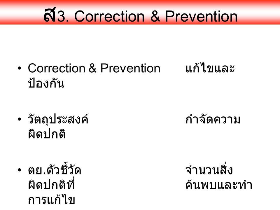 ส 3. Correction & Prevention •Correction & Prevention แก้ไขและ ป้องกัน • วัตถุประสงค์กำจัดความ ผิดปกติ • ตย. ตัวชี้วัดจำนวนสิ่ง ผิดปกติที่ค้นพบและทำ ก