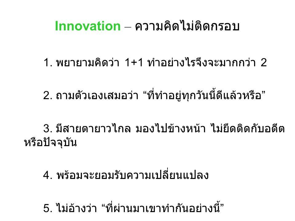 "Innovation – ความคิดไม่ติดกรอบ 1. พยายามคิดว่า 1+1 ทำอย่างไรจึงจะมากกว่า 2 2. ถามตัวเองเสมอว่า "" ที่ทำอยู่ทุกวันนี้ดีแล้วหรือ "" 3. มีสายตายาวไกล มองไป"