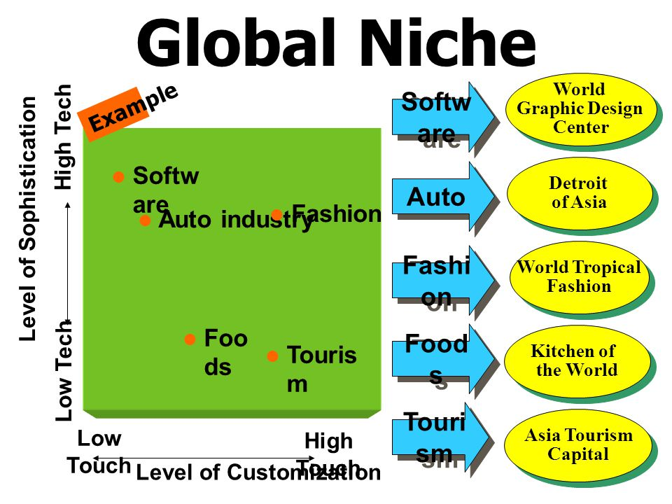 Level of Customization Level of Sophistication High Tech Low Tech Low Touch High Touch  Softw are  Foo ds  Touris m  Auto industry  Fashion Examp