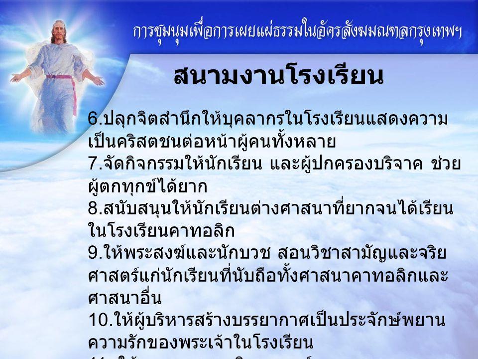1. จัดกิจกรรมคุณธรรม ในพระวรสาร แก่เด็กนักเรียน สนามงานโรงเรียน